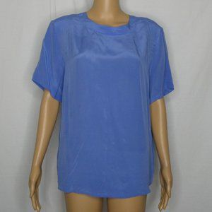 Anna and Frank Silk Keyhole Blouse Periwinkle Blue